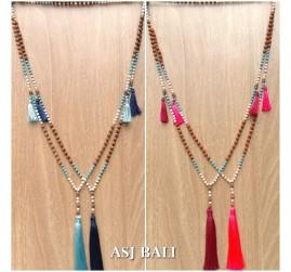 bali fashion tassels necklaces mix beads elegant design new 4color