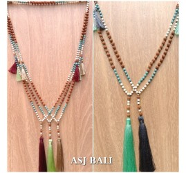 bali fashion tassels necklaces mix beads elegant design new 5color