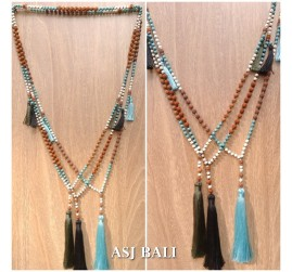 bali fashion tassels necklaces mix beads elegant style 3color
