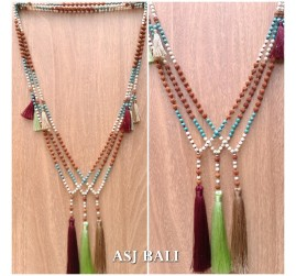 bali fashion tassels necklaces mix beads elegant style new 3color