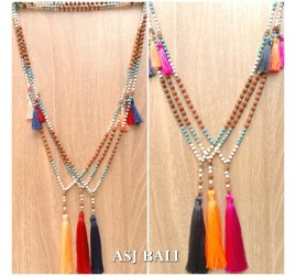 bali fashion tassels necklaces mix beads prayer design 3color