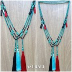 bali necklaces tassels pendant long strand with stone turquoise 3color