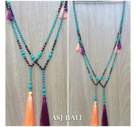 bali necklaces tassels pendant with stone beads turquoise 2color