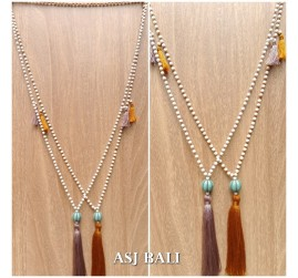 bali stone bead necklace handmade tassels necklace ball caps 3color