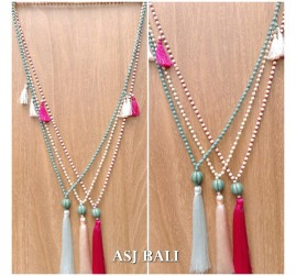 bali stone beads necklace tassels pendant ball caps 3color