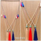 bali stone necklace pendant handmade tassels ball caps 3color