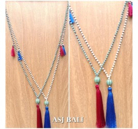 bali stone necklace pendant tassels necklace bead ball caps 2color