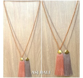 balinese natural tassels necklace crystal beads handmade fashion