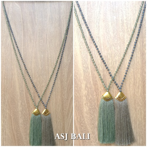 balinese tassels necklace crystal bead handmade fashion 3color