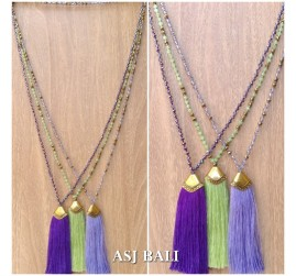 balinese tassels necklace crystal beaded handmade fashion 3color