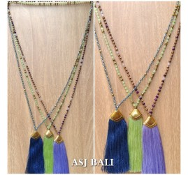balinese tassels necklace crystal beads handmade fashion 3color