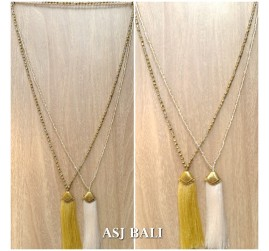 balinese tassels necklace crystal beads handmade fashion 2color style