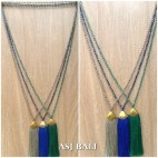 balinese tassels necklace crystal beads handmade fashion 3colors