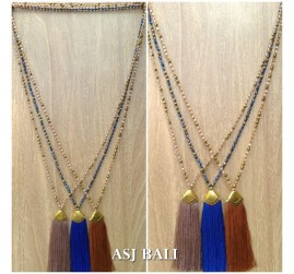balinese tassels necklace crystal beads handmade fashion accessories