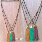 balinese tassels necklace crystal beads handmade fashion design