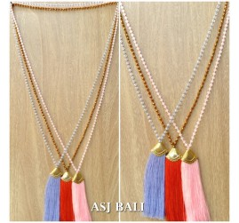 balinese tassels necklace crystal beads handmade golden chrome