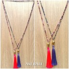 budha head small golden chrome tassel necklaces crystal beads mix color