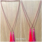 chrome beads silver necklace tassels long seeds fashion accessories 2color