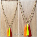 chrome beads silver necklace tassels long seeds fashion accessories 3color