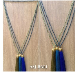 crystal beads solid color tassel pendant golden chrome king caps necklace