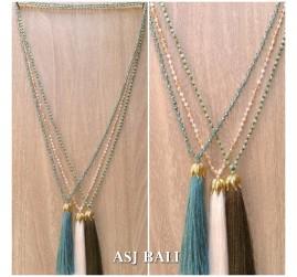 crystal beads tassel pendant golden chrome king caps necklace fashion