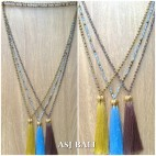 crystal mix beads tassel pendant golden chrome king caps necklace