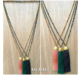 fashion necklaces tassels crystal beading pineapple golden bronze caps