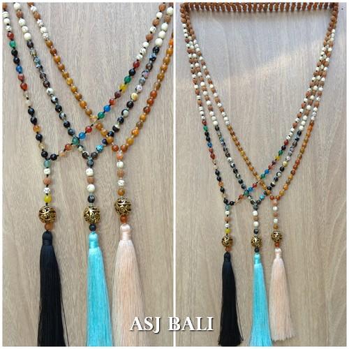 glass beads agate mix rudraksha mala stone tassels necklace fashion 3color