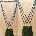 king caps chrome golden green lime tassels pendant necklace crystal beads