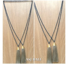 king caps chrome golden grey color tassels pendant necklace crystal beads