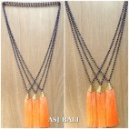 king caps chrome golden tassels pendant necklace crystal bali beads