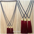 king caps chrome golden tassels pendant necklace crystal beads