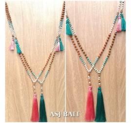 mala rudraksha beads stone necklaces tassels prayer style 2color
