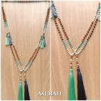 mala rudraksha with bead stone necklaces tassels yoga style 2color