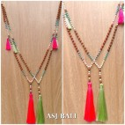 mala rudraksha with stone bead necklaces tassels handmade 2color