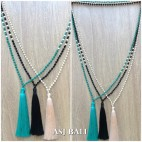 mix bead color fashion tassels necklace long strand 3color fashion
