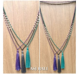 mix bead color fashion tassels necklace long strand bali design 3color