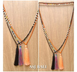 mix beads color fashion tassels necklace long strand new design 3color