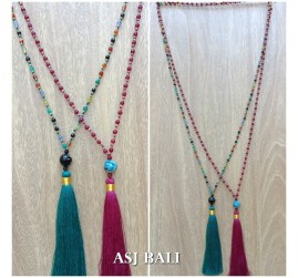 mix color ceramic bead tassels necklaces single layer 2color fashion