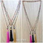 ceramic beads mix color tassels necklaces pendant single layer 3colors