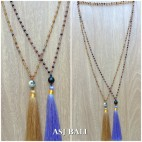 mix color ceramic beads tassels necklaces pendant single layer 2color