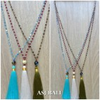 mix color ceramic beads tassels necklaces pendant single layer 3color