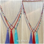 mix crystal bead color fashion tassels necklace long strand 3color