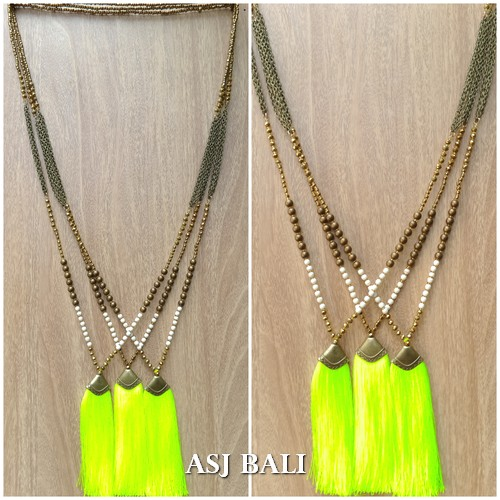 necklaces tassels pendant chains beads golden color fashion accessories
