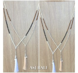 new design tassels necklaces single strand 2color handmade bali