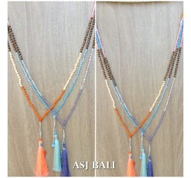 new design tassels necklaces single strand 3color handmade bali