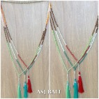 new design tassels necklaces single strand 3colors fashion balinese design