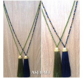 pineapple golden caps tassels pendant fashion necklace crystal beads bali