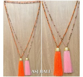 pineapple golden bronze caps tassels pendant style necklace crystal beads