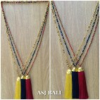 pineapple golden caps tassels pendant design necklace crystal beads bali
